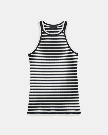 Striped Ribbed Knit Racerback Tank Top | Theory