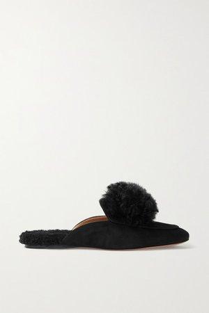 Foxy Alpaca-trimmed Suede Slippers - Black