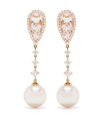 Yoko London 18kt rose gold diamond south sea pearl Kaleidoscope drop earrings pink YLE6014019 - Farfetch