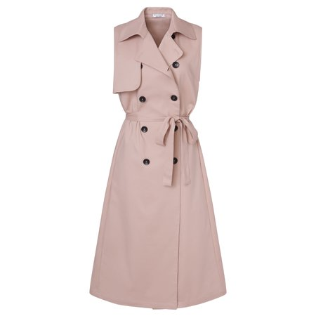 Pale Pink Vest Trench Coat