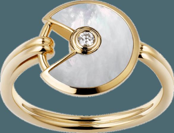 CRB4213300 - Bague Amulette de Cartier XS - Or jaune, nacre blanche, diamant - Cartier