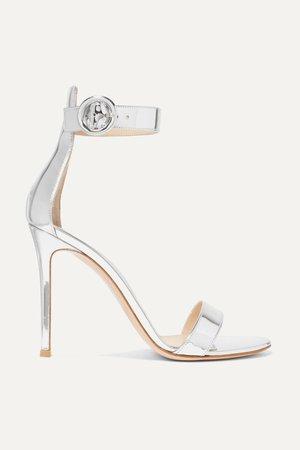 Silver Portofino 105 metallic leather sandals   Gianvito Rossi   NET-A-PORTER