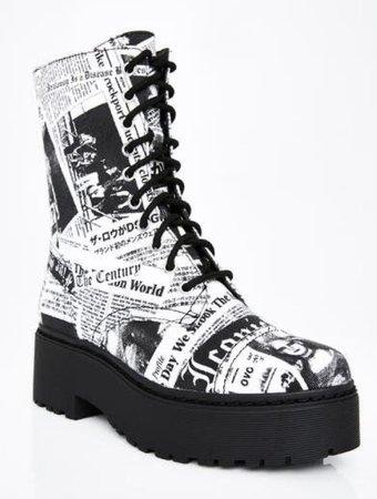 newspaper combat boots