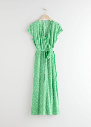 Floral Midi Wrap Dress - Green Floral - Maxi dresses - & Other Stories