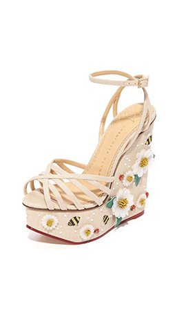 Charlotte Olympia. Floral Meredith Sandal Wedges