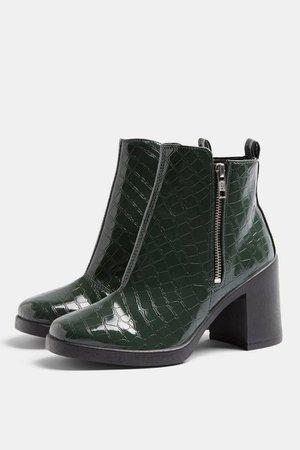 BRIDIE Khaki Croc Unit Boots | Topshop