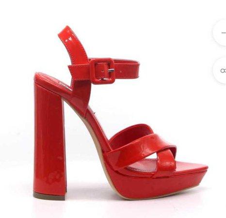 Red Chunky Heel