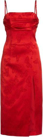 Dundas Butterfly Jacquard Midi Dress