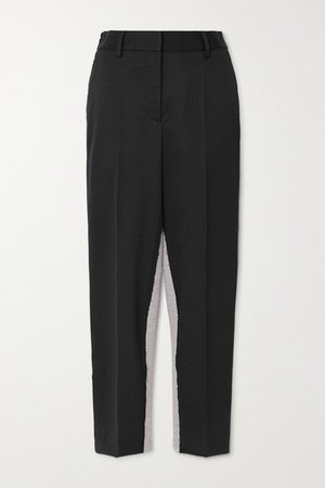 Twill And Cotton-blend Jersey Tapered Pants - Black