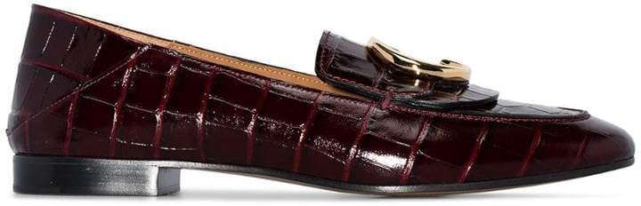 Purple C Logo Croc Embellished Leather Loafers