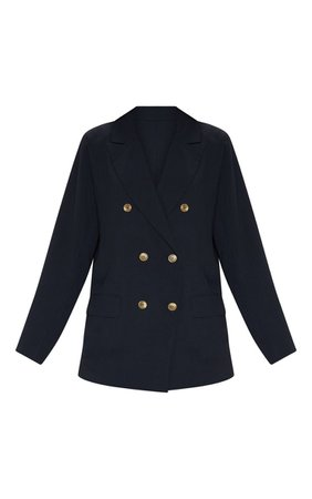 Black Shoulder Padded Woven Blazer | PrettyLittleThing