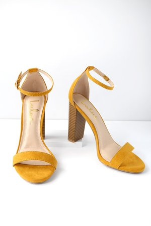 Sexy Yellow Heels - Ankle Strap Heels - Single Sole Heels