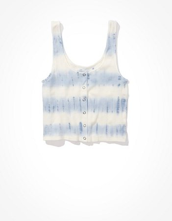 AE Cropped Snap-Front Tank Top white