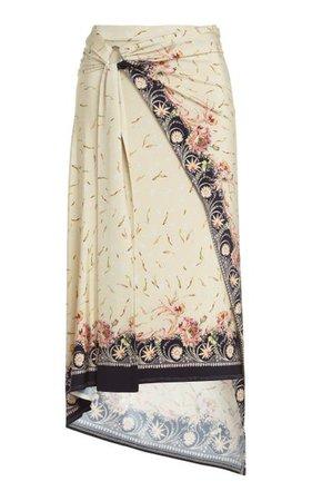 Asymmetric Printed Stretch-Crepe Midi Skirt By Paco Rabanne | Moda Operandi