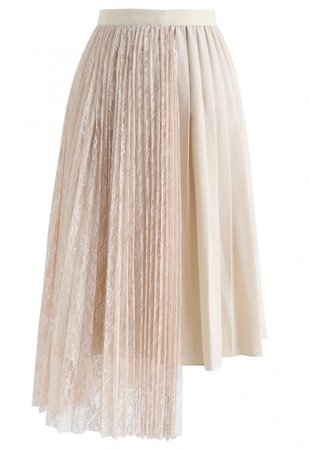 Lace Spliced Asymmetric Hem Pleated Skirt in Cream - Skirt - BOTTOMS - Retro, Indie and Unique Fashion