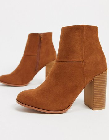 ASOS DESIGN Recite heeled ankle boots in tan | ASOS