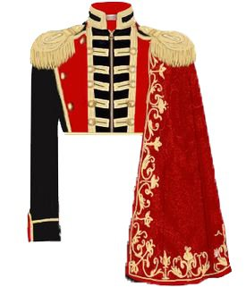Red, Black & Gold Military Jacket With Cape