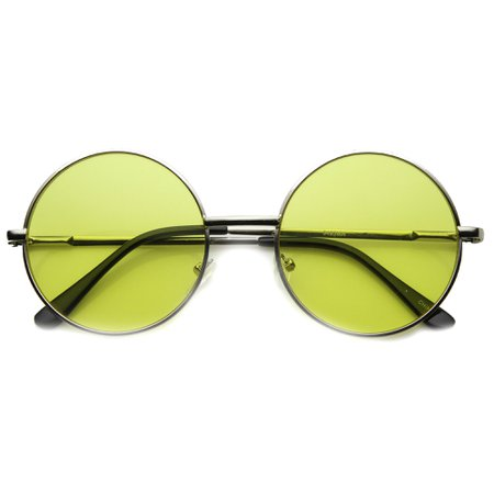 Retro Hippie Mid Sized Round Color Lens Sunglasses - zeroUV