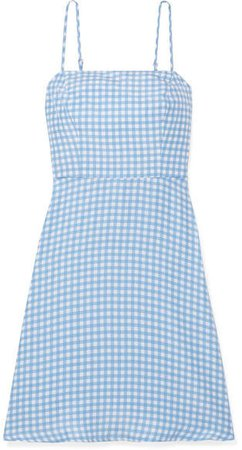 Nora Gingham Silk Crepe De Chine Mini Dress - Light blue
