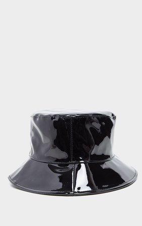 Black Pu Vinyl Bucket Hat   Accessories   PrettyLittleThing USA