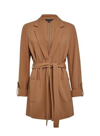 Brown Crepe Belted Jacket | Dorothy Perkins