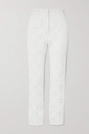 Cotton-blend Guipure Lace Tapered Pants - White