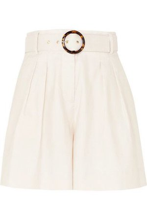 Rebecca Vallance   Taylor belted pleated linen and cotton-blend shorts