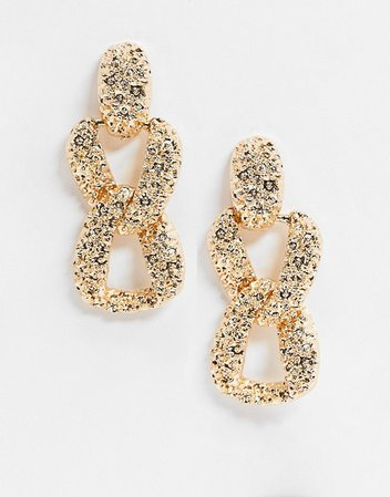 ASOS DESIGN earrings in texture chain link drop in gold tone | ASOS