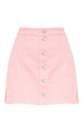 Pink Denim Mini Skirt