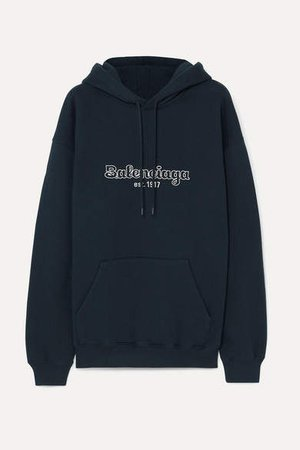 Embroidered Cotton-jersey Hoodie - Midnight blue