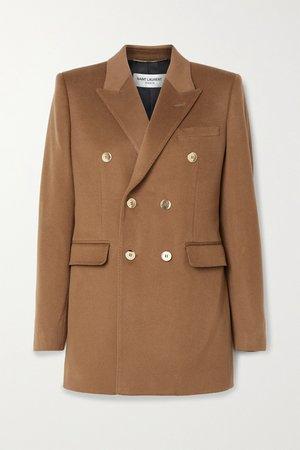 Brown Wool and cashmere-blend blazer   SAINT LAURENT   NET-A-PORTER