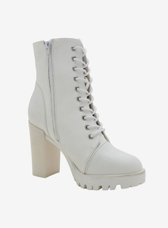 Ivory Heel Combat Boots