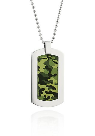 Belk & Co. Stainless Steel Camouflage Dog Tag Necklace