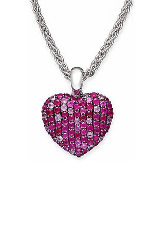 Effy® Sterling Silver Ruby Pink Sapphire Heart Pendant Necklace