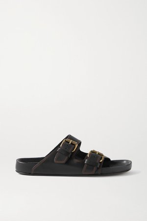 Lennyo Embellished Leather Slides - Black