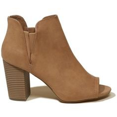 Hollister Madden Girl Fizzle Bootie (2.895 RUB) ❤ liked on Polyvore featuring shoes, boots, ankle booties, brown, brown peep toe booties, peep toe bootie, short brown boots, wedge boots and brown booties