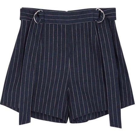 Navy Pinstripe Shorts