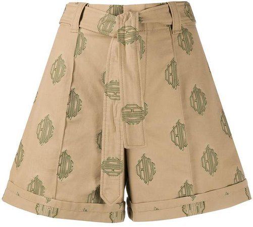 embroidered logo belted shorts