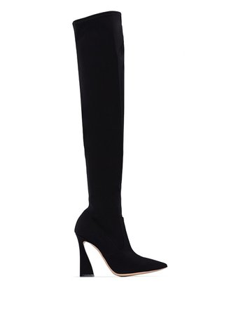 Gianvito Rossi Black 105 thigh-high Stretch Boots - Farfetch