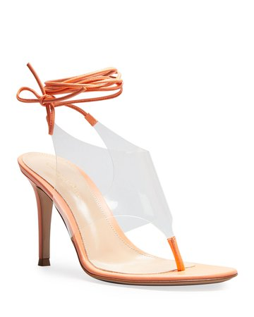 Gianvito Rossi 85mm Clear Ankle-Tie Thong Sandals   Neiman Marcus