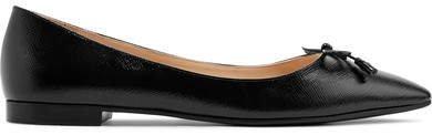 Textured-leather Ballet Flats - Black