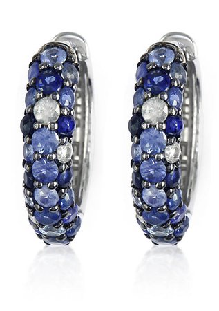 Effy® Sapphire Hoop Earrings in Sterling Silver