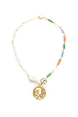 Timeless Pearly Medallion Asymmetrical Necklace