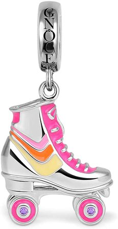 Amazon.com: GNOCE Roller Skates Charm Pendant Sterling Silver Pink Charm Bead Fit Bracelet/Necklace Charm for Women Girls: Clothing