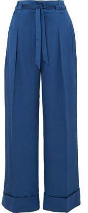 Perkins Silk-blend Jacquard Wide-leg Pants