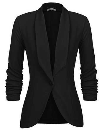 Beyove Women's 3/4 Stretchy Ruched Sleeve Open Front Lightweight Work Office Blazer Jacket S-XXL at Amazon Women's Clothing store