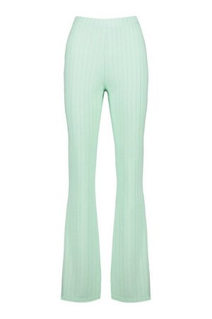Recycled Rib Wide Leg Trouser | boohoo green