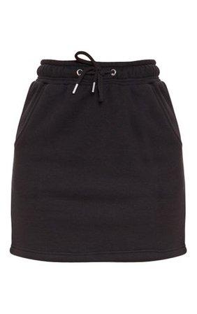 Black Sweat Drawstring Waist Mini Skirt   PrettyLittleThing USA