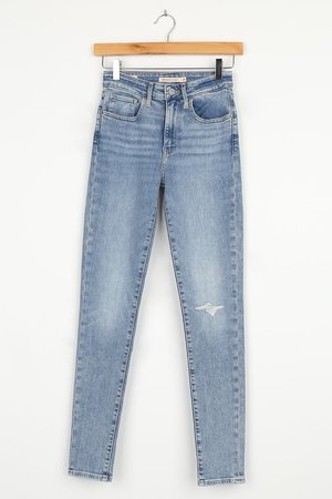 Levi's 721 High Rise - Medium Wash Jeans - High Rise Skinny Jeans - Lulus