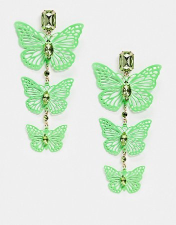 ASOS DESIGN earrings with neon green butterfly drop | ASOS